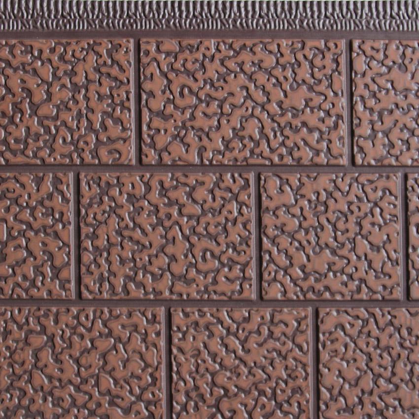 三块砖金属雕花板浅棕沙辊瓦红